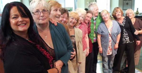 Angela (left) with her friends from the Tenovus Sing for Life choir