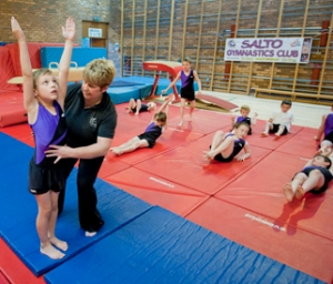 Primary school children at the Salto Gymnastics club as part of 2014 Communities