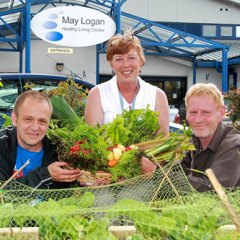 Stephen O'Brien, Debbie Kelly and Kenny Herd outside May Logan Healthy Living Centre