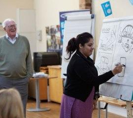 Bill Tidy leads language class