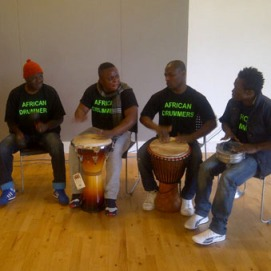 AFrican drummers welcome people to the event