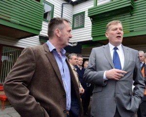 Housing Minister, Kris Hopkins MP visits Avon House and pictured talking to Manager Eddie Dean