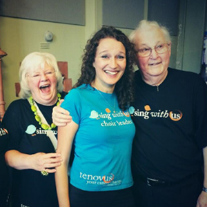 Jean and Huw with Shoshana (Shosh) the Bridgend Sing With Us choir leader""