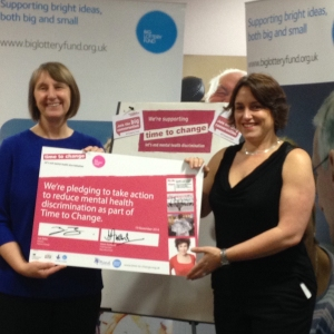 Dawn Austwick signs  Big Lottery Fund up, to Time To Change