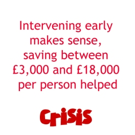 slogan - intervening early makes sense, saving between £3,000 and £18,000 per person helped