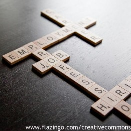 Scrabble letters spelling out employment linked words