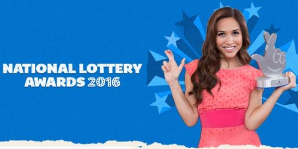 National Lottery Awards logo with Myleene Klass